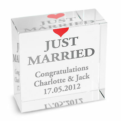 Personalised GLASS BLOCK - JUST MARRIED - WEDDING GIFT - WEDDING TOKEN
