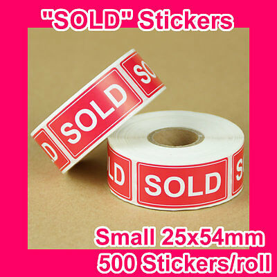 "2000 ""SOLD"" sticker/label 25mmx54mm GST INCLUDED (4 rolls)"