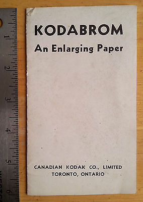 KODABROM Enlarging Paper - instruction booklet photography vintag KODAK Canadian