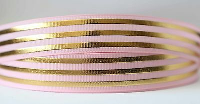 1M X 25mm Grosgrain Ribbon Craft DIY Decorations Bows - Gold On Pink