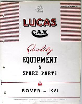Lucas ROVER ( inc. Land Rover) - Car Equipment & Spare Parts -1961 - CCE905K