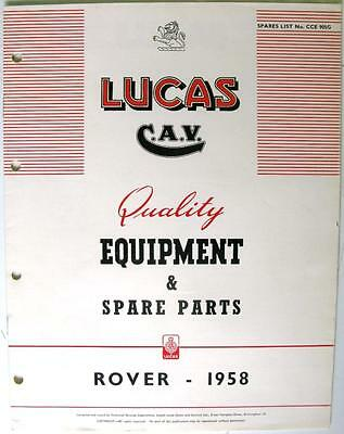 Lucas ROVER ( inc. Land Rover) - Car Equipment & Spare Parts - 1958 - CCE905G