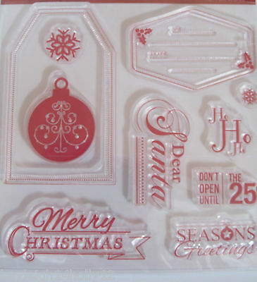Create Christmas Clear Rubber Stamp Set~10 Stamps~Craft~Cards~Scrapbooking~Art~