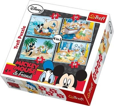 Puzzle Pappe Trefl 4 in 1 35 + 48 + 54 + 70 Teile Mickey Mouse und Donald 34118