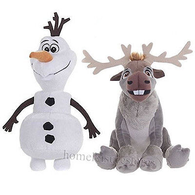 Disney Twin Pack 20cm Olaf The Snowman & 19cm Sven The Reindeer Soft Plush Toy