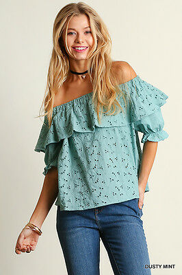 Umgee Crochet Off-Shoulder  Eyelet Lace Ruffle Top Blouse Dusty Mint New S M L