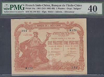 French Indochina Banque de l'Indo-Chine 1 Piastre Note P-34a ND 1903-09 PMG 40