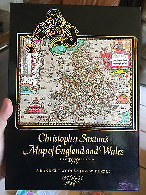 Christopher Saxton's Map of England and Wales: A Hand Cut Wooden Jigsaw Puzzle