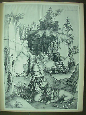Albrecht Durer Vintage Copper Engraving Print St Jerome Penitent In Wilderness