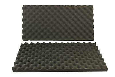 2 PACK Eggcrate Soundproofing Acoustic Wedge Foam Tiles Wall Panels 24X12X1 1/2""