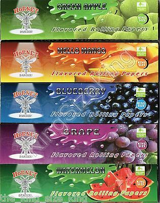 Hornet King Size Slim Flavoured Rolling Papers, Mixed x5 Packs (Set A)
