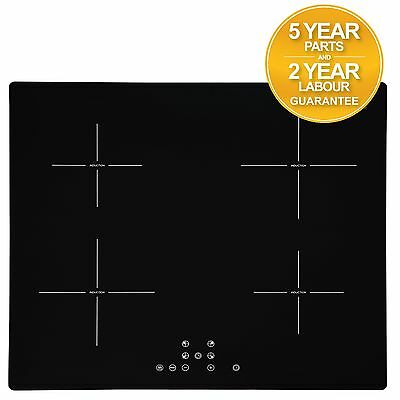 SIA 60cm 4 Zone Black Touch Control Electric Induction Hob | Child Lock