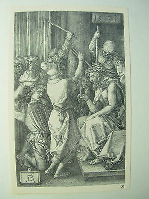 ALBRECHT DURER VINTAGE COPPER ENGRAVING CHRIST CROWN WITH THORNS - PASSION No 7