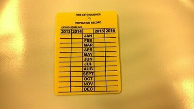 """25 4 Year Fire Extinguisher Plastic Inspection Record Tags 3"""" X 21/4"""""""