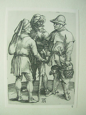 Albrecht Durer Vintage Copper Engraving Three Peasants In Conversation