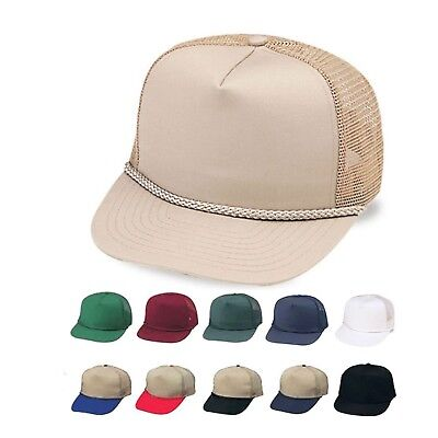 Cotton Twill Baseball Hats Caps Blank Two Tone 5 Panel Trucker Mesh Braid
