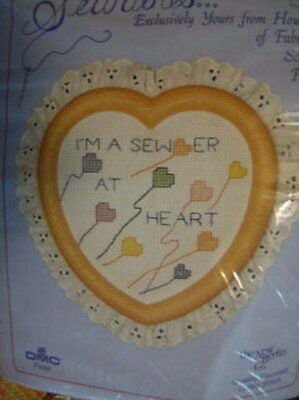 I'm A Sewer At Heart Cross Stitch Kit   Frame-4.5x4.5 Inches, New Berlin