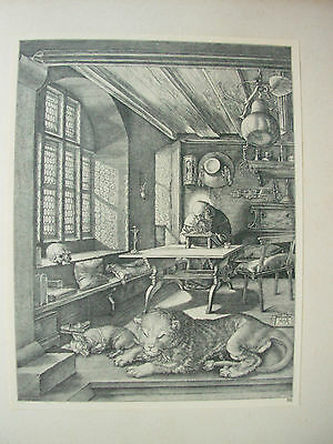 Albrecht Durer Vintage Copper Engraving St Jerome In His Study