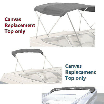 "Bimini Top Boat Cover Canvas Fabric Grey W/boot Fits 3 Bow 72""l 46""h 85""- 90""w"