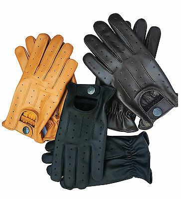 Mens Leather Soft Driving Gloves Retro Style Top Quality Comfort Chauffeur D7012