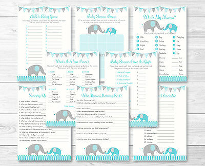 Teal Chevron Elephant Baby Shower Games Pack 8 Printable Games