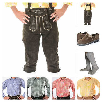 German Bavarian Oktoberfest Trachten Package/Set: Lederhosen Shirt Shoes Socks S