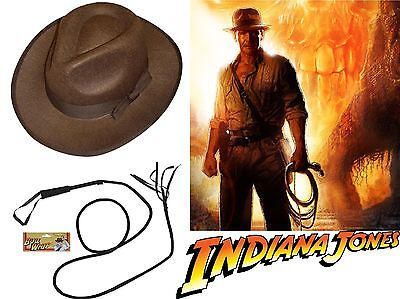 Indiana Jones Style Bull Whip Tan Brown Hat Explorer Movie Costume Prop Indy Set