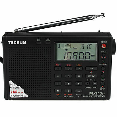 TECSUN PL-310ET DSP World Band Radio FM/MW/SW/LW Receiver Alarm ETM/ATS Best