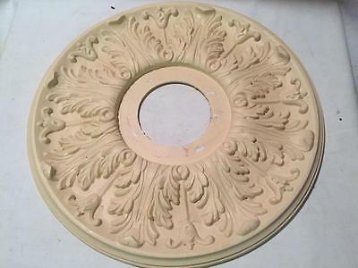 "Vintage Plastic Chandelier Ceiling Medallion 16"" Diameter Victorian Style Chic"