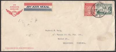 Australia 1935 cover to Melbourne with WA Airways label & ANZAC 2d, 3d Airmail