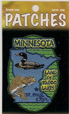 State Of Minnesota Souvenir Patch - Land Of 10,000 Lakes - St. Paul