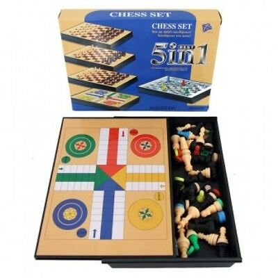 Magnetic Chess Set Multiple Board Games 5 in 1 Ludo Snake and Ladder Checkers