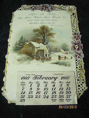Antique Diecut Calendar 1897 Balston Spa New York with Violets and Pussy Willows