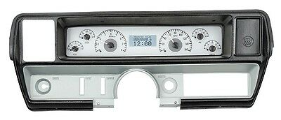 1968-69 Buick Skylark Dakota Digital Silver Alloy & White VHX Gauge Dash Kit