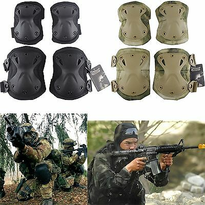 Military 4pcs Knee & Elbow Protector Pads Sets Gear Adjustable Combat Tactical