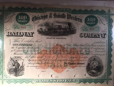 Chicago & South Western Railway Co. 1800's Stock Certificate.