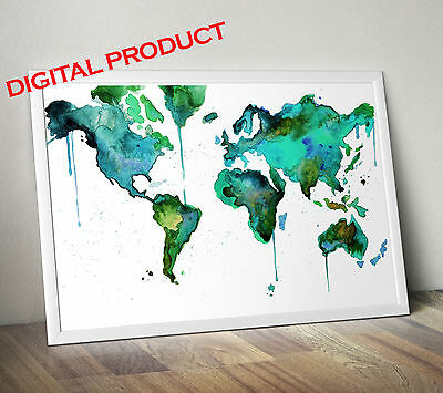 Watercolor World Map Poster Print Wall Picture PRINTABLE Digital Home Decor