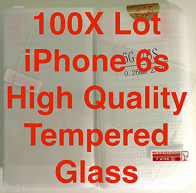 """100x Wholesale Lot Tempered Glass Screen Protectors for Apple iPhone 6s & 6 4.7"""""""