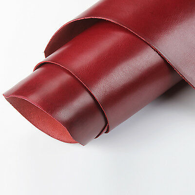 Red Full Grain Vegetable Tanned Oil Cowhide Leather For Sheath Journals Wallet