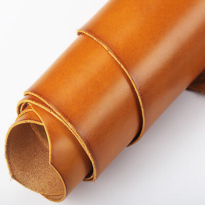 Full Grain Vegetable Tanned Oil Leather Cowhide Leather for leathercraft Orange