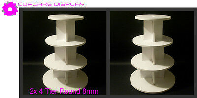 2 x 4 tier round 8MM wedding birthday party cupcake cup cake stand strong