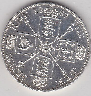 1887 Arabic One Double Florin In Near Mint Condition