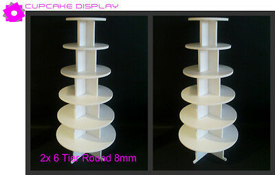 2 x 6 tier round 8MM wedding birthday party cupcake cup cake stand strong