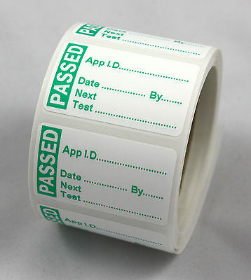 PAT Test / Testing Labels/Stickers PASSED Strong Polypropylene Non Rip 40 x24mm