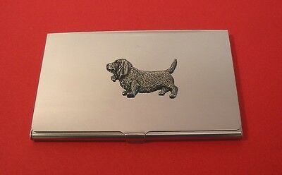Basset Hound Pewter Motif Chrome Plated Card Holder Fathers Day Useful Gift