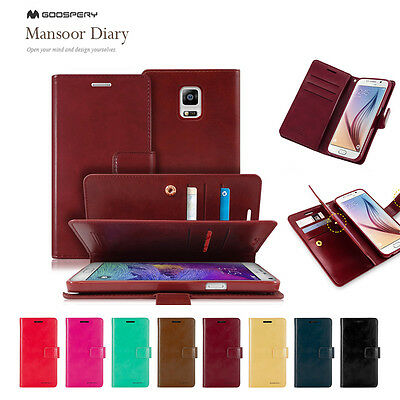 Samsung S7/Edge S6 S5 Note 5 Goospery Clip Wallet PU Leather CARD Gel Case Cover