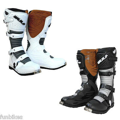 Wulfsport Adult MX SuperBoots Motocross Enduro Off Road Black White Racing LA