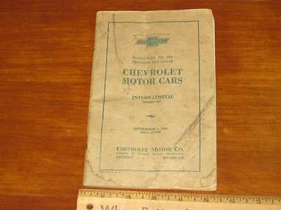 """1929 Chevrolet International """"AC"""" Owners Manual"""