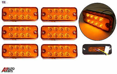 6X Orange Marker Side Led Trailer Truck Lorry Recovery Position Lights Lamps 12V