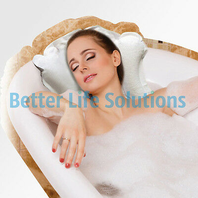 Inflatable Luxury Bath Pillow with Suckers | White Head Rest Bath Cushion